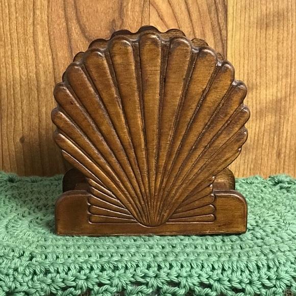 Vintage Carved Wood Seashell Napkin Holder